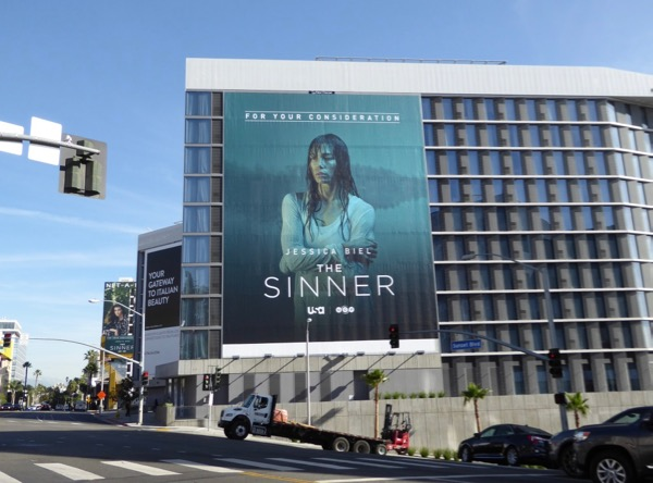 Sinner giant Golden Globe FYC billboard Sunset Strip