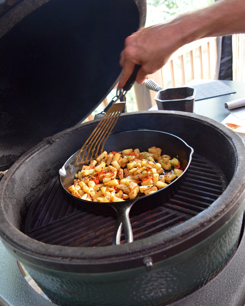 Cooking with cast iron on the big green egg