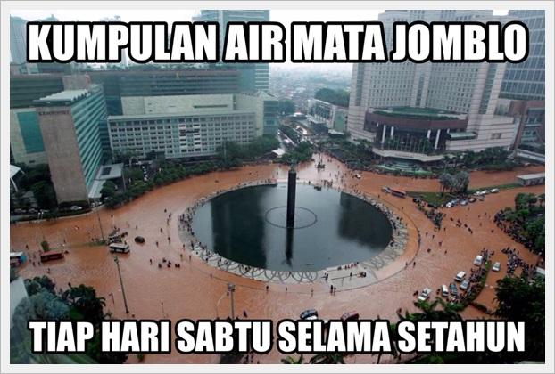 gambar kumpulan air mata jomblo sebabkan jakarta banjir hari sabtu terbaru