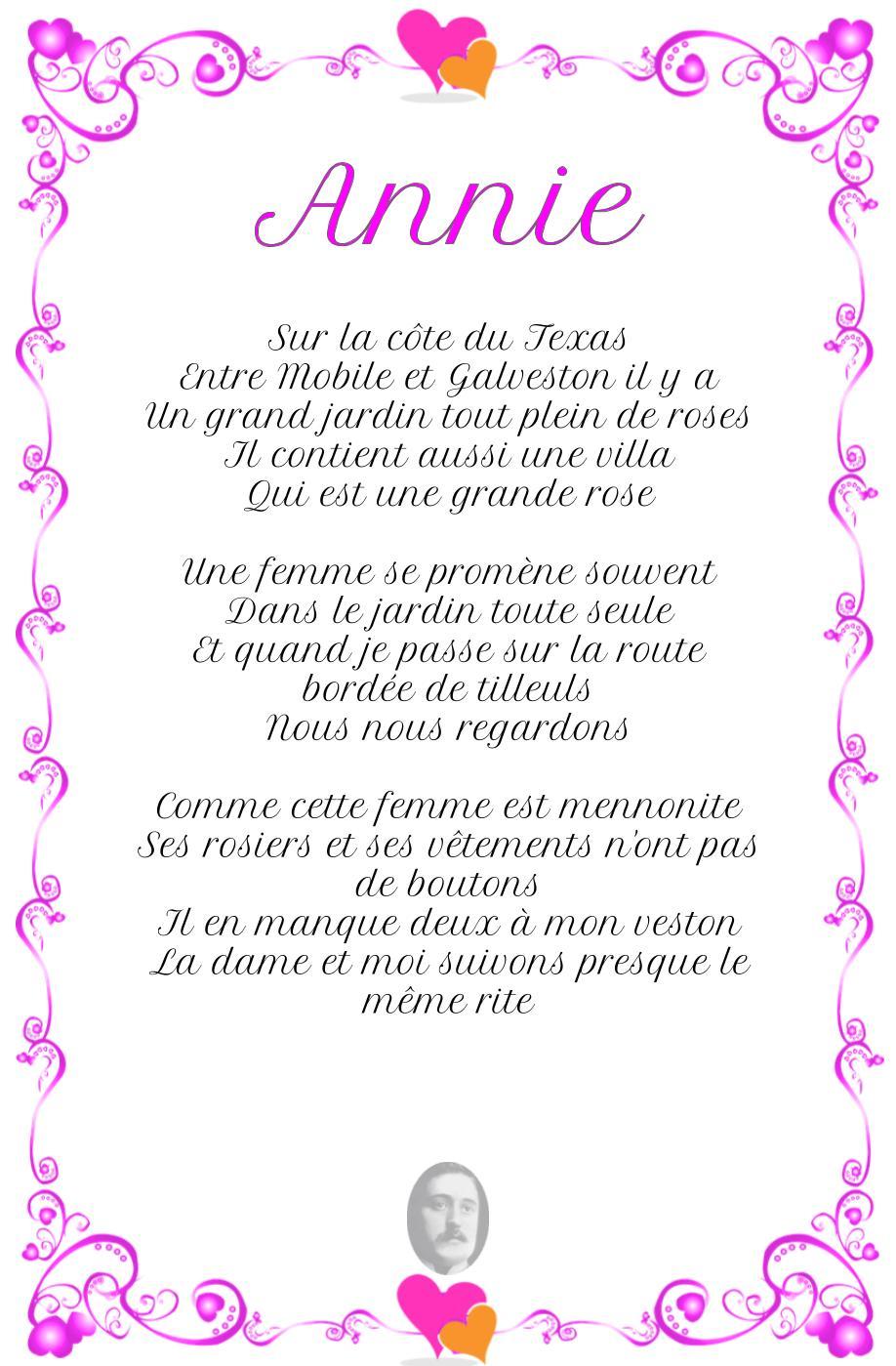 Annie, poème de Guillaume Apollinaire