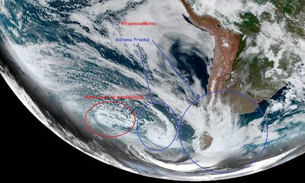 Satélite capturó un efecto Fujiwhara en la costa de Chile y aproxima al sur de nuestro país con tormentas eléctricas.