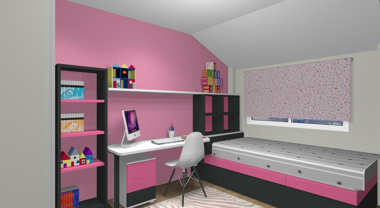 Dormitorio juvenil con cama tren y zona de estudio para dos - Dormitorios juveniles para dos hermanos ...