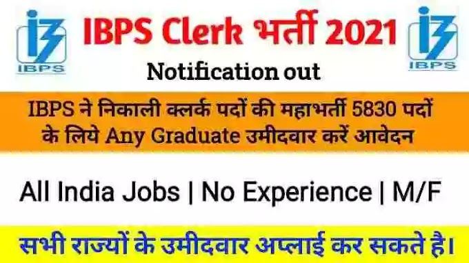 IBPS CRP Clerk वेकेंसी 2021-22 नोटिफिकेशन | शैक्षणिक योग्यता | आयुसीमा | सिलेक्शन प्रोसेस