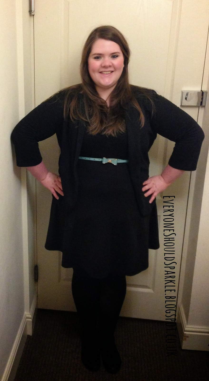 f27fbc7abdd5d plus size and curvy smart work outfit idea   black jacket   primark black  skater dress with waist belt