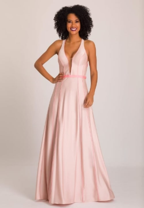 vestido de festa longo rose para casamento durante o dia
