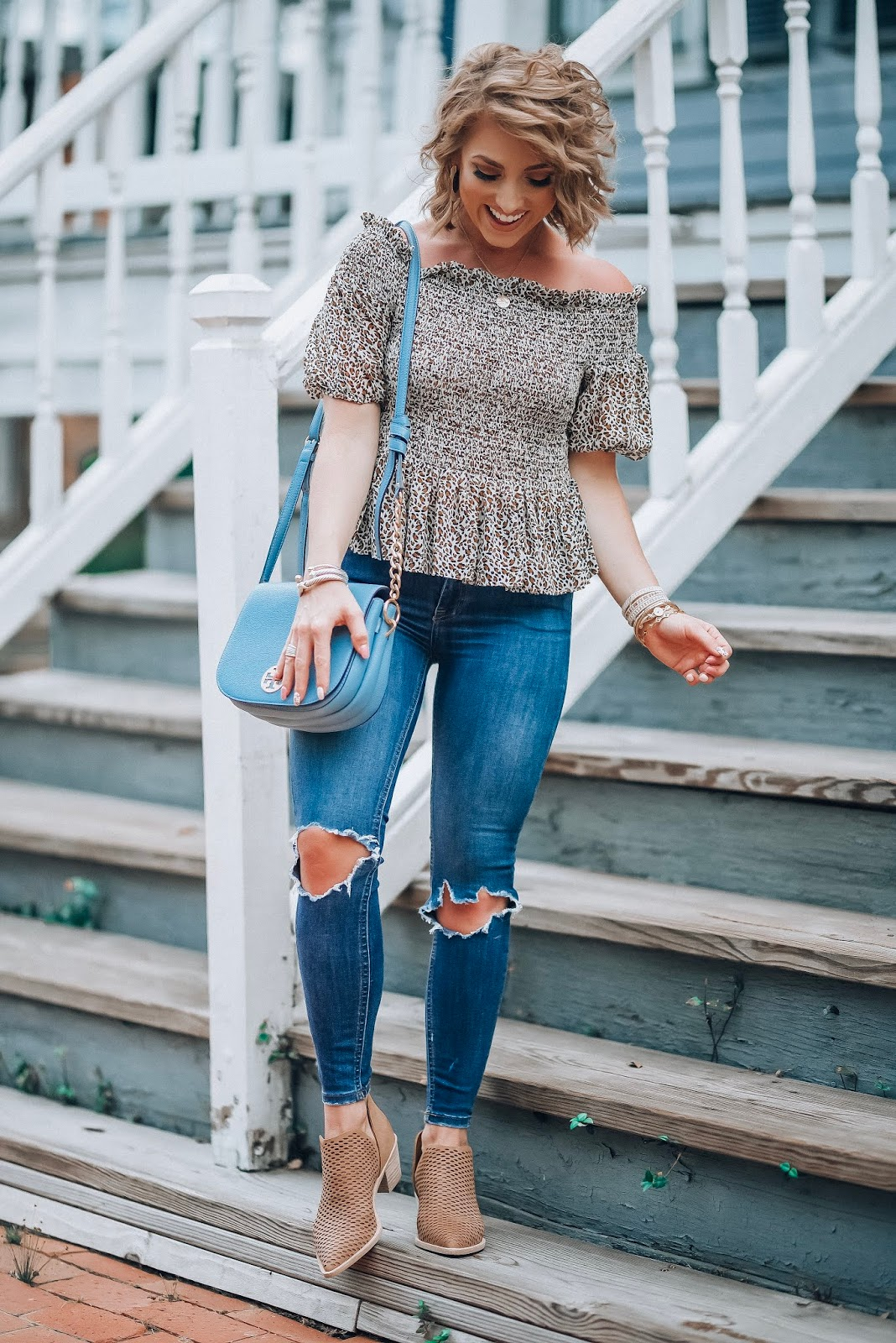 Leopard Lovin' - Under $50 Smocked Leopard Peplum Top, Busted Knee Jeans, Perforated Booties - Pre-Fall Style - Something Delightful Blog