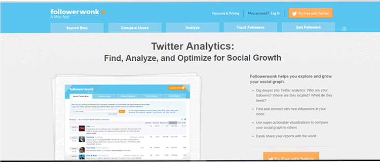 Find, analyse, and optimise for social growth with FollowerWonk