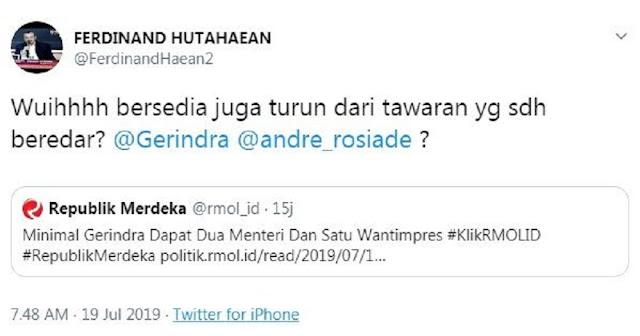 Gerindra Diprediksi Dapat 2 Kursi Menteri, Demokrat: Turun dari Tawaran?