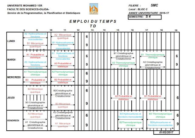 SMC S4 : Emplois du temps des TDs 2016/2017