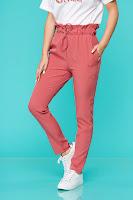 Pantaloni SunShine roz casual din material subtire
