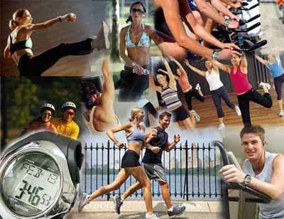 composición de personas haciendo ejercicio aeróbico