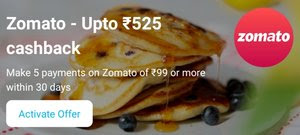 Paytm Offer - Get Upto Rs.525 Cashback On Zomato