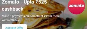 Paytm Offer - Get Upto Rs.525 Cashback On Zomato