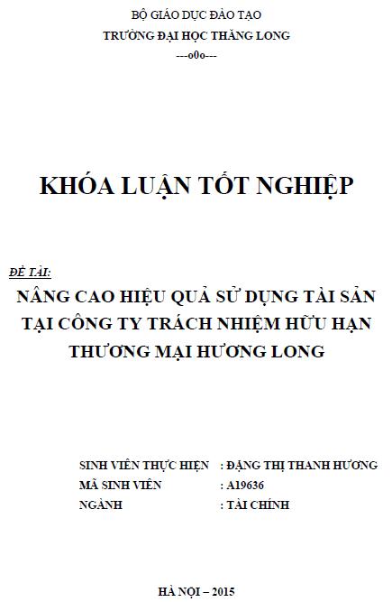 Nâng cao hiệu quả sử dụng tài sản tại Công ty TNHH Thương mại Hương Long