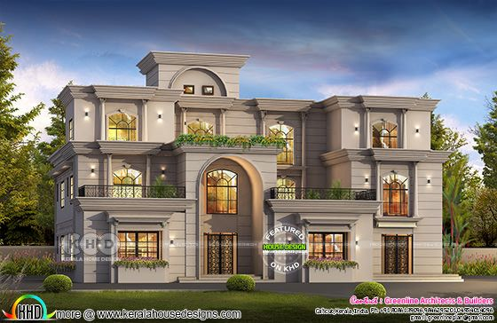 7 bedroom Colonial style luxury house plan