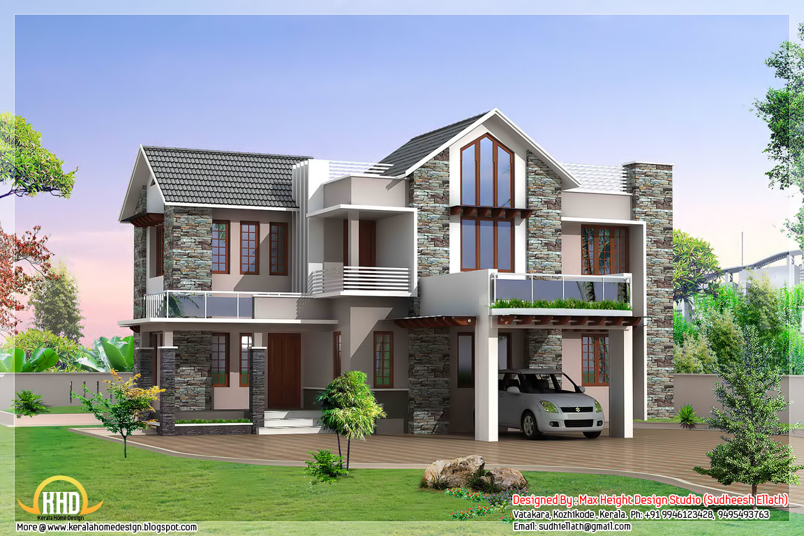 3 beautiful modern home elevations kerala home design for Modern style house plans