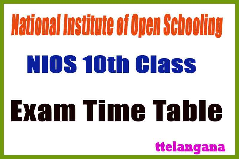 NIOS 10th Exam Time Table