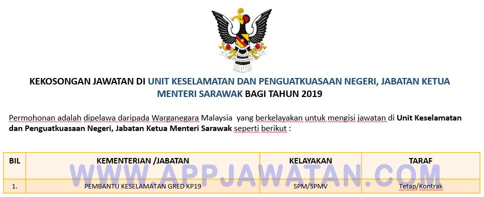 Jawatan Kosong Terkini Di Unit Keselamatan Dan Penguatkuasaan Negeri Jabatan Ketua Menteri Sarawak Appjawatan Malaysia