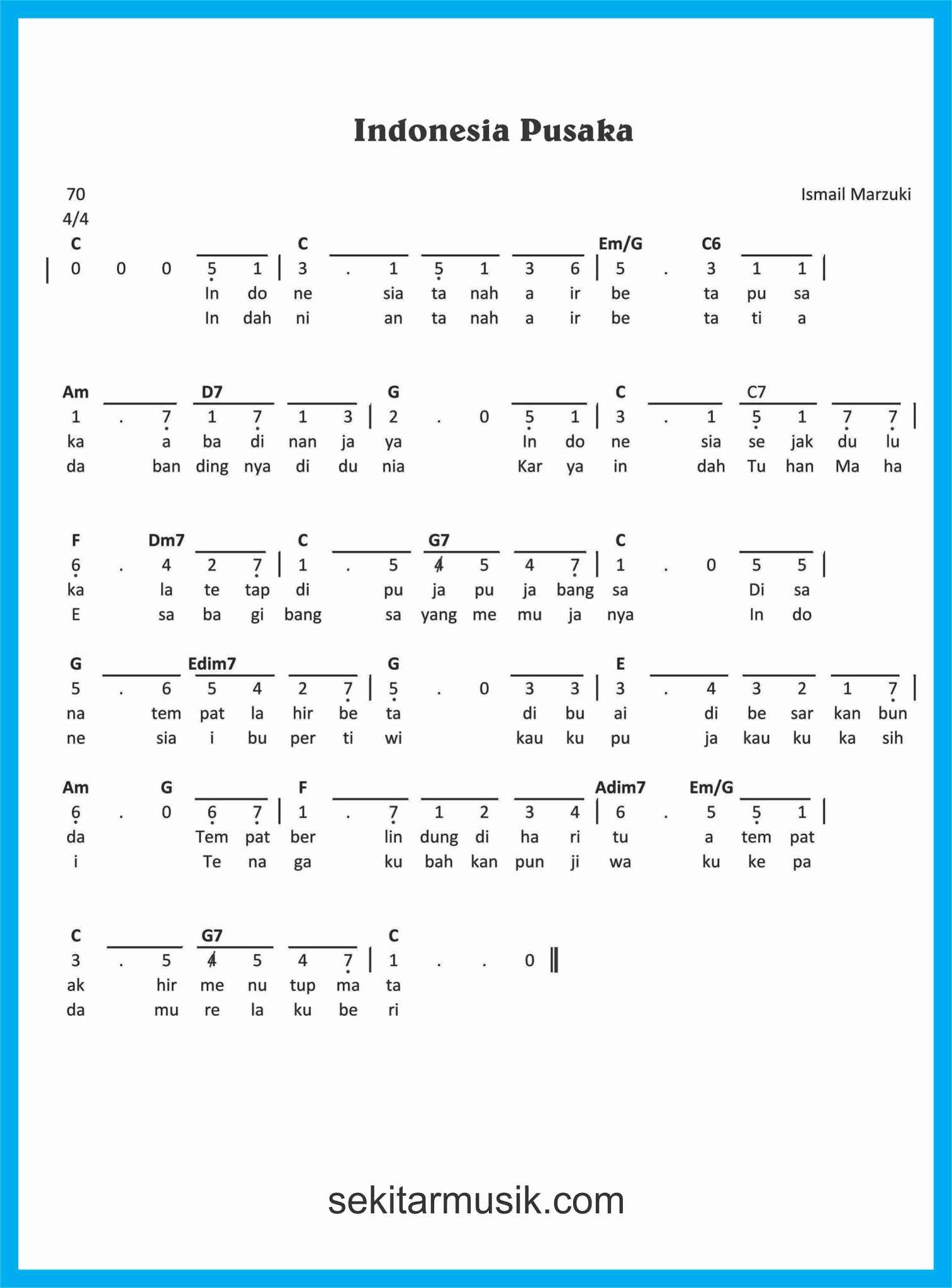Syair Lagu Indonesia Pusaka : syair, indonesia, pusaka, Angka, Indonesia, Pusaka, SEKITAR, MUSIK