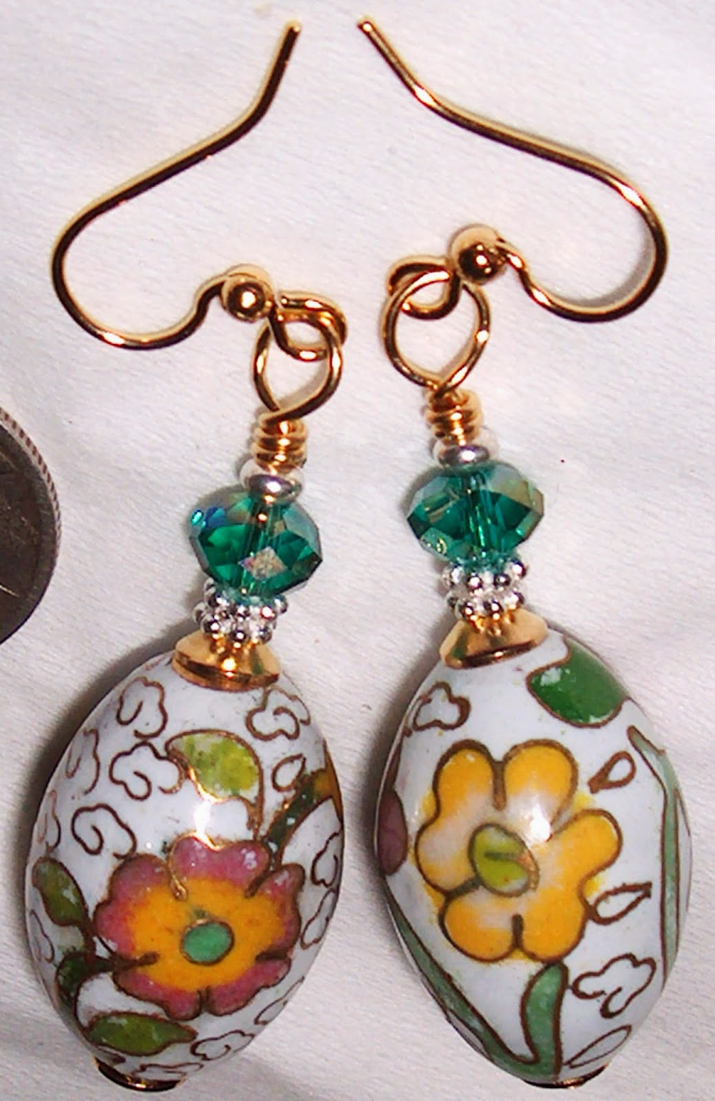 Antique Cloisonne Bead Earrings Kirsten USA