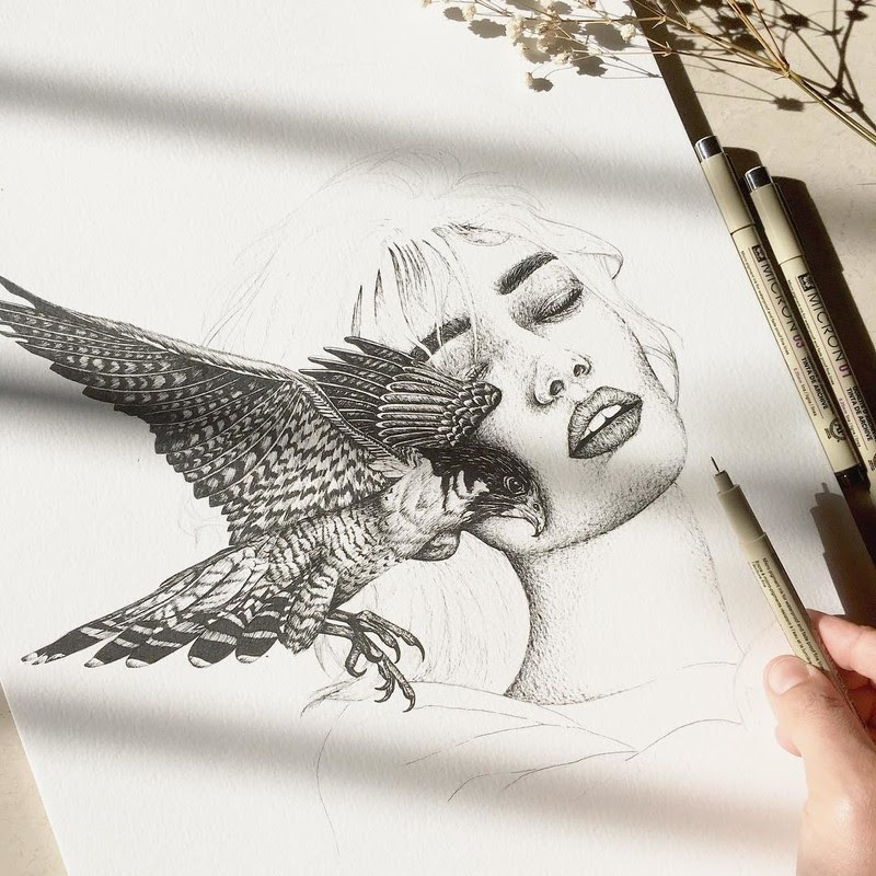 12-Bird-of-Pray-Surreal-Animals-Mostly-Ink-Drawings-www-designstack-co