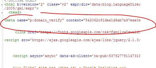 edit html verifikasi pinterest
