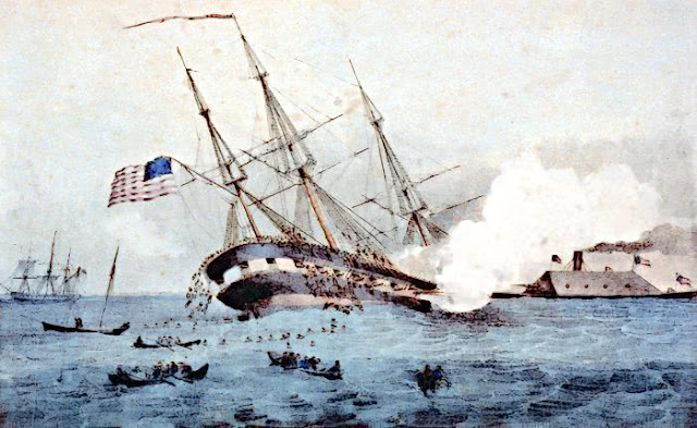 drawing of the Cumberland rammed by the Merrimack from wpclipart.com