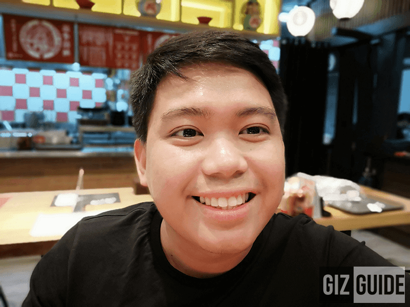 Portrait selfie with background blur