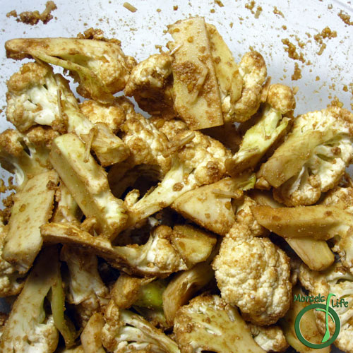 Morsels of Life - Balsamic Parmesan Roasted Cauliflower Step 3 - Toss or shake together.