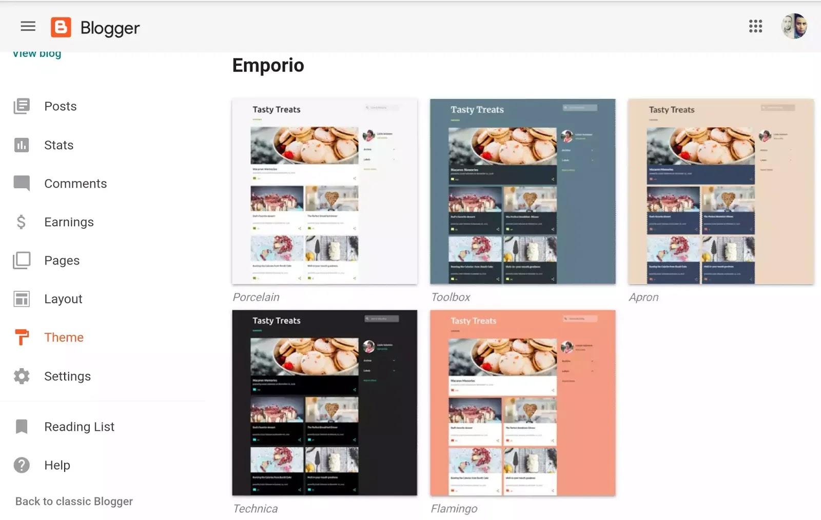 emporio blogger theme