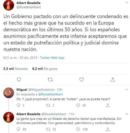 """Albert Boadella pide que se organicen """"manifestaciones"""" contra un """"Gobierno pactado con un delincuente condenado"""""""