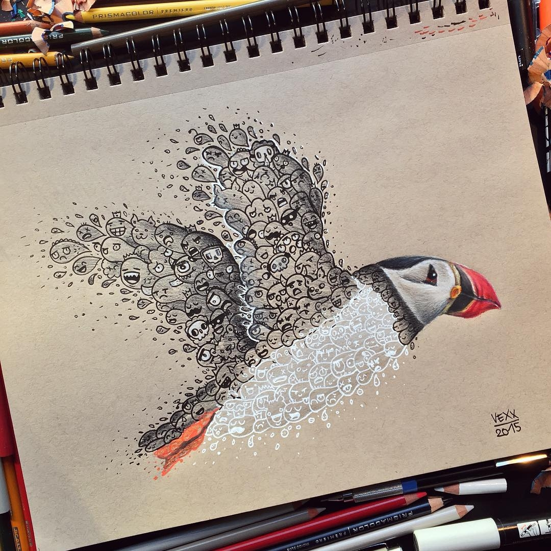 01-Puffin-Vince-Okerman-vexx-Doodle-Drawings-that-Brightenup-your-Day-www-designstack-co
