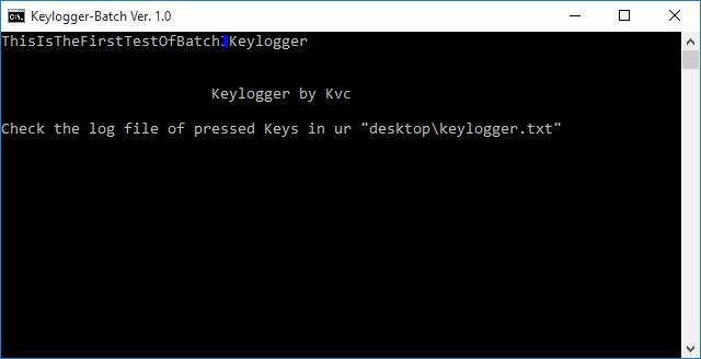 Keylogger in Batch ver. 1.0 | by Kvc