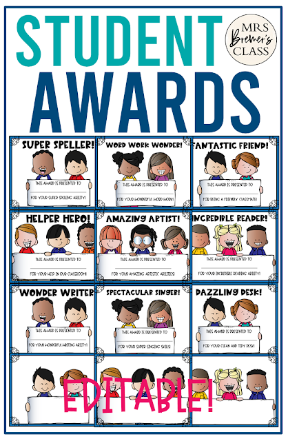 Editable student awards! Perfect for an end of the school year activity, to celebrate each student's achievements and talents! Tons of categories and options included or create your own.