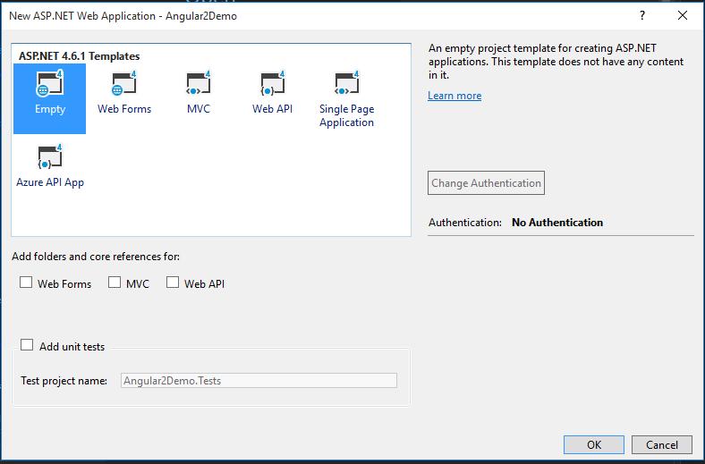 ASP NET / ASP NET Core: Angular 2 Quickstart with Visual