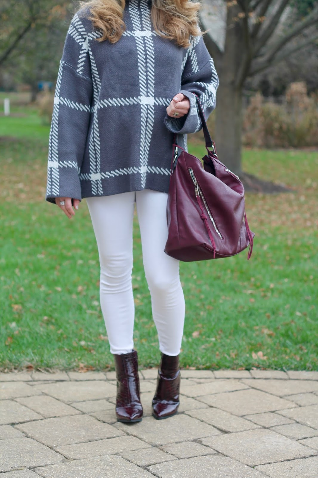white jeans fall, white denim winter, burgundy booties, grey windowpane sweater, burgundy bag