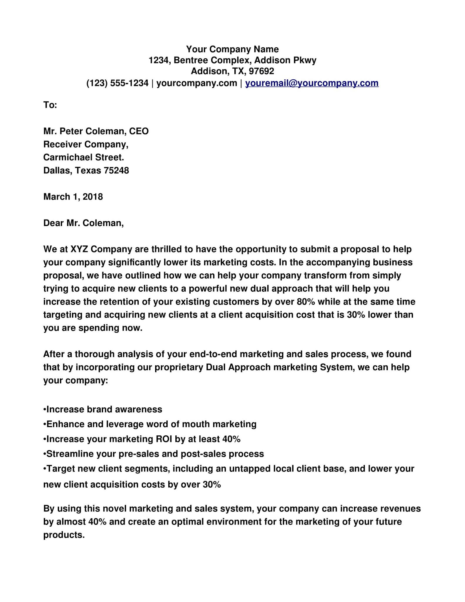 Cover Letter Examples Proposals