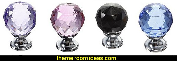 Diamond Crystal Knob Cabinet Door Drawer Cupboard Pull Handle