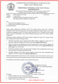Surat Konfirmasi Peserta PPG Daljab Angkatan III Tahun 202