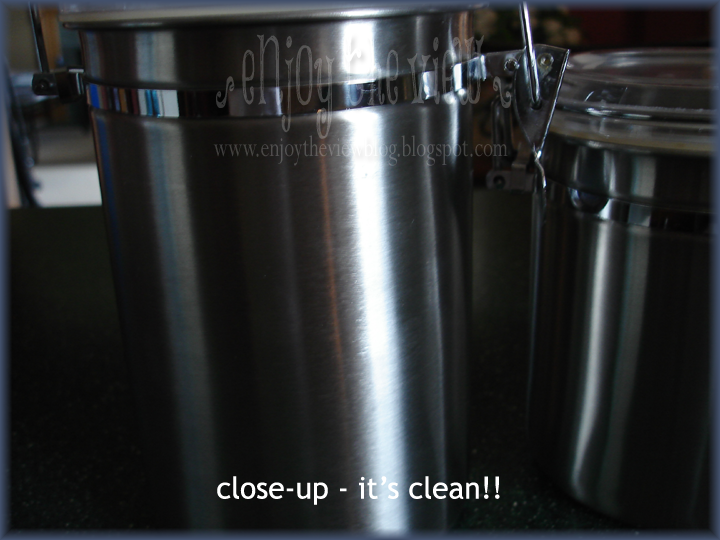 closeup of clean metal canisters