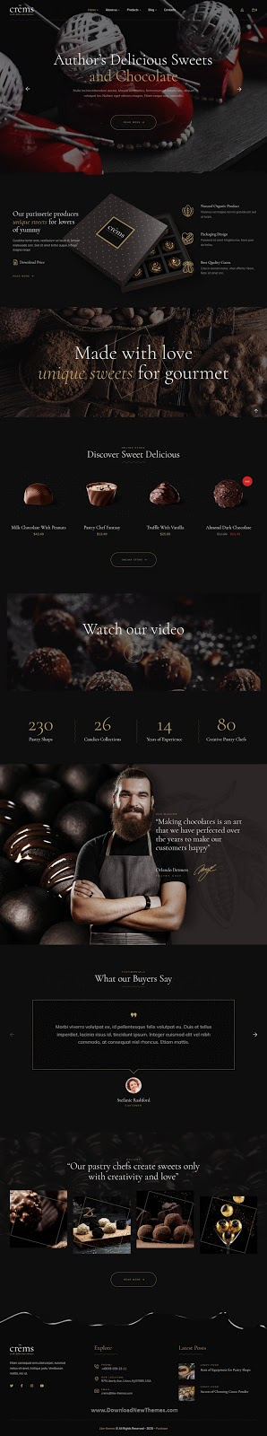 Best Chocolate Sweets & Pastry WordPress Template