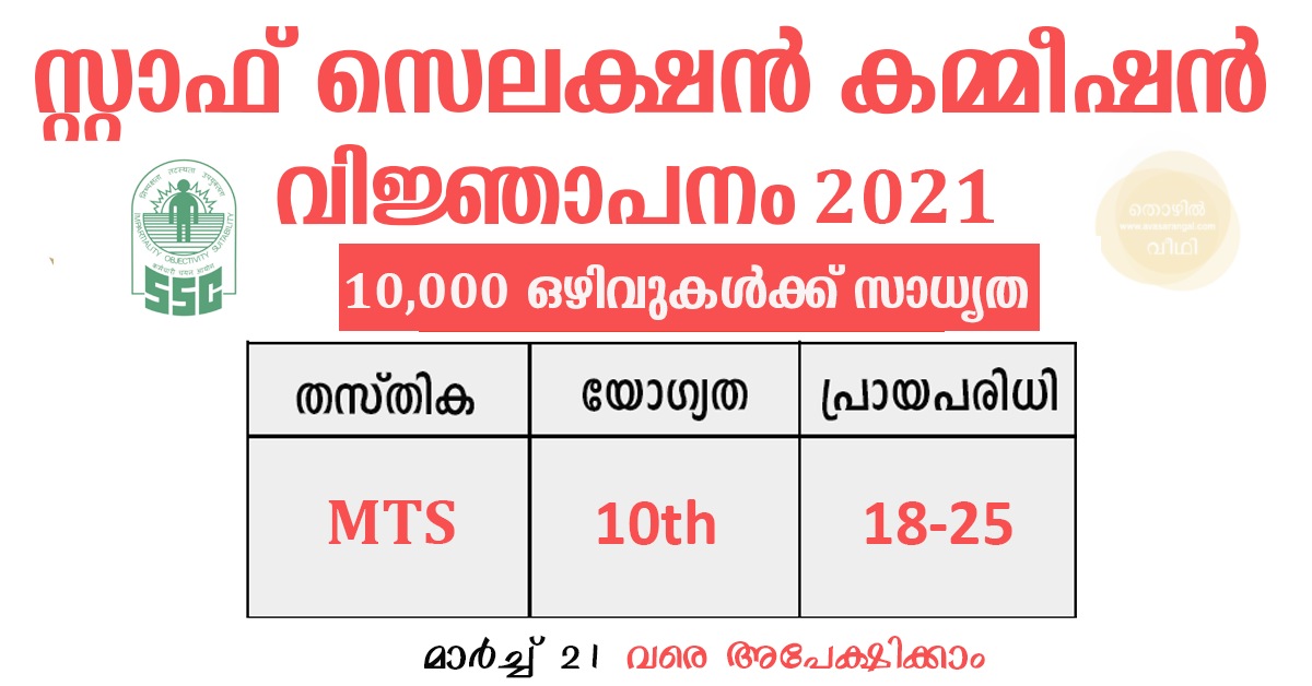 SSC MTS Recruitment 2021│ 9069 Multi Tasking Staff (MTS) Vacancies.