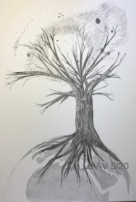 graphite drawing of a tree standing on Earth reaching into a nebula, artist Linzé Brandon, signed LdV-V