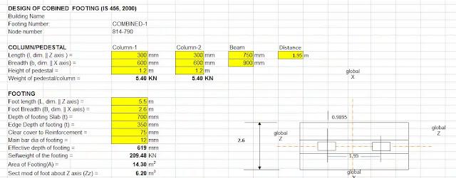 Combined Footing Excel design spreadsheet
