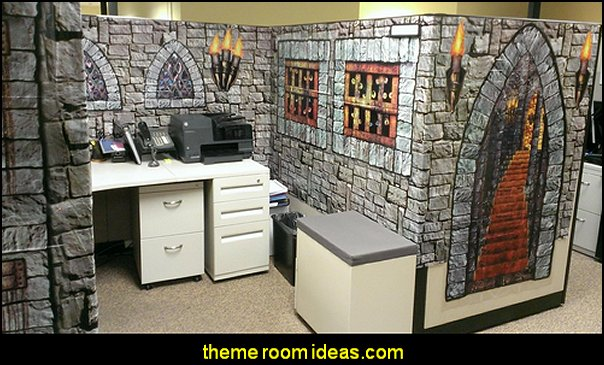 Medieval Castle and dungeon cubicle  office  office cubicle decorating ideas - cubicle decorating - work desk decorations - cubicle decoration themes - cubicle decor - office birthday party cubicle decorations - office birthday decorating kit - glitter office supplies - desktop organizers