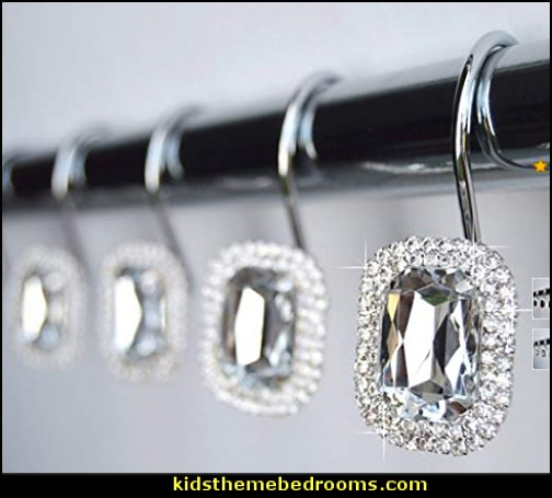 Shower Curtain Hooks Rings Decorative Crystal Gems Bling Rhinestones Shower Curtain Hooks Rings