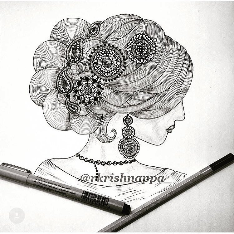 11-Hair-Rashmi-Krishnappa-Calm-and-Serenity-in-Balanced-Pen-drawings-www-designstack-co