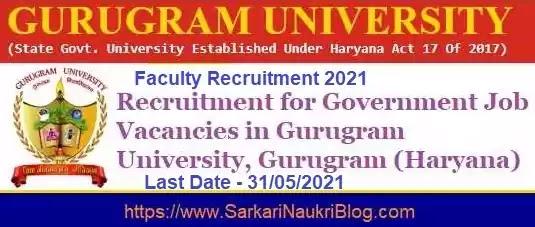 Gurugram University Faculty Vacancy Recruitment 2021