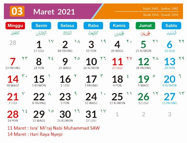 Kalender Bulan Maret 2021 dan Hari Besarnya