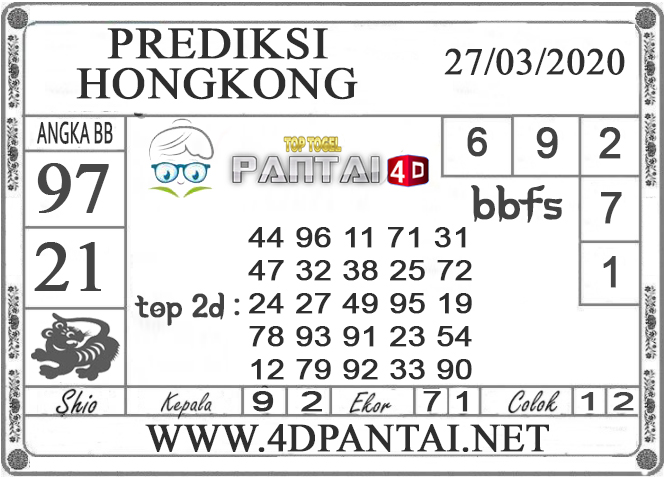 PREDIKSI TOGEL HONGKONG PANTAI4D 27 MARET 2020